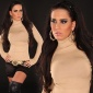 ELEGANT FINE-KNITTED POLO-NECK SWEATER BEIGE