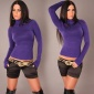 ELEGANT FINE-KNITTED POLO-NECK SWEATER PURPLE