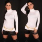 ELEGANT FINE-KNITTED POLO-NECK SWEATER WITH BUTTONS WHITE
