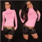 ELEGANT FINE-KNITTED POLO-NECK SWEATER PINK