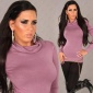 ELEGANT POLO-NECK SWEATER ANTIQUE PINK