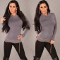 ELEGANT POLO-NECK SWEATER GREY