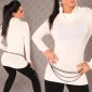 ELEGANT POLO-NECK SWEATER WHITE