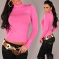 ELEGANT KNITTED SWEATER POLO-NECK SWEATER FUCHSIA