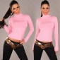 ELEGANT KNITTED SWEATER POLO-NECK SWEATER PINK