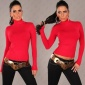 ELEGANT KNITTED SWEATER POLO-NECK SWEATER RED