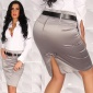 SEXY SATIN PENCIL SKIRT WITH BELT GREY
