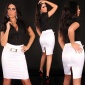 SEXY SATIN PENCIL-SKIRT WITH BELT WHITE
