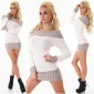 ELEGANT KNITTED LONG SWEATER PULLOVER CARMEN STYLE BEIGE/BROWN
