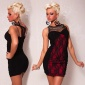 ELEGANT EVENING DRESS MINI DRESS WITH LACE BLACK/RED