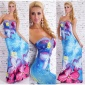 FLOOR-LENGTH STRAPLESS SUMMER MAXI DRESS WITH FLORAL DESIGN BLUE