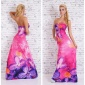 FLOOR-LENGTH STRAPLESS SUMMER MAXI DRESS WITH FLOWERS FUCHSIA