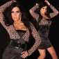 PRECIOUS BOLERO EVENING DRESS SATIN LACE BELT BLACK/LEOPARD