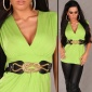 ELEGANT SHORT-SLEEVED SHIRT WITH BELT LIGHT GREEN