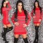 ELEGANT LUXURY KNITTED DRESS WITH GLITTER RED