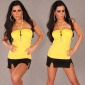 ELEGANT HALTERNECK TOP WITH LACE CHAINS YELLOW