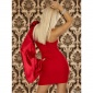 ELEGANT ONE-SHOULDER EVENING DRESS WITH SATIN RED