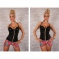 ELEGANT REDIAL GLAMOUR STRAPPY TOP WITH RHINESTONES WET LOOK BLACK