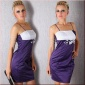 ELEGANT SATIN EVENING DRESS PURPLE / WHITE