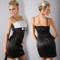 ELEGANT SATIN EVENING DRESS BLACK / WHITE