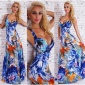 ELEGANT FLOOR-LENGTH SUMMER MAXI DRESS WITH FLOWERS BLUE
