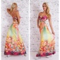 ELEGANT SUMMER MAXI DRESS WITH FLOWERS FUCHSIA / YELLOW