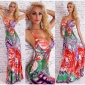 ELEGANT FLOOR-LENGTH SUMMER MAXI DRESS WITH FLOWERS RED/GREEN