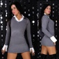 SEXY KNITTED MINIDRESS WITH BLOUSE-INSET GREY
