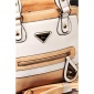 EXCLUSIVE HANDBAG MADE OF SOFT IMITATION LEATHER APRICOT/WHITE