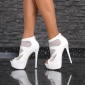 EXCLUSIVE PLATFORM ANKLE BOOTS PEEP TOE HIGH HEELS WHITE