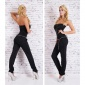 GLAMOUR PARTY OVERALL JUMPSUIT WITH SEQUINS INCL. BELT CLUBBING BLACK
