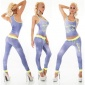 SEXY 2 PCS FITNESS JOGGING YOGA SPORT SET BLUE/NEON-YELLOW