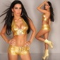 SEXY 2-TLG GOGO-SET TOP+HOTPANTS CLUBWEAR METALLIC-LOOK GOLD