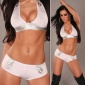 SEXY STRIPPER SET CLUBBING WET LOOK TOP AND HOTPANTS WHITE/SILVER