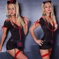 SEXY 5 PCS NURSE GOGO SET CLUBWEAR BLACK / RED