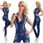 SEXY SLEEVELESS JEANS JUMPSUIT FRAYED WITH RHINESTONES DARK BLUE