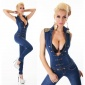 SEXY SLEEVELESS FITTED JEANS JUMPSUIT MILITARY-LOOK DARK BLUE