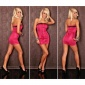SEXY BANDEAU-KLEID MINIKLEID SATIN ZIPPER PINK