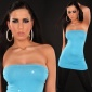 SEXY BANDEAU LONG TOP WITH RHINESTONES TURQUOISE