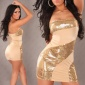 SEXY BANDEAU MINIDRESS WITH SEQUINS BEIGE / GOLD