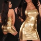 SEXY BANDEAU MINIDRESS METALLIC-LOOK GOLD