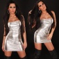 SEXY BANDEAU MINIDRESS METALLIC-LOOK SILVER