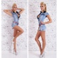 SEXY BLEACHED BLUE HOTPANTS JEANS OVERALL INKL. G�RTEL HELLBLAU
