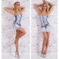 SEXY BLEACHED JEANS MINIDRESS FITTED CUT WITH BELT LIGHT BLUE