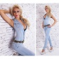 SEXY BLEACHED BLUE JEANS-OVERALL JUMPSUIT WITH LEO-BELT LIGHT BLUE