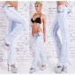 SEXY BLEACHED BOOTCUT JEANS CRASHED-LOOK MIT STRASS HELLBLAU