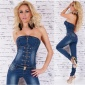 SEXY BLUE WASHED BANDEAU JEANS-OVERALL JUMPSUIT WITH ZIPPER DARK BLUE