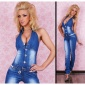 SEXY BLUE WASHED HALTERNECK JEANS-OVERALL JUMPSUIT WITH BELT BLUE