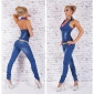 SEXY BLUE WASHED HALTERNECK JEANS-OVERALL JUMPSUIT WITH BELT DARK BLUE
