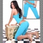 SEXY CAPRI LEGGINGS WITH SATIN TURQUOISE